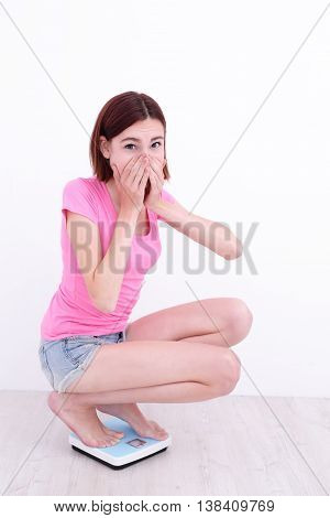 white girl squatting on a scale with her hands cover her mouth