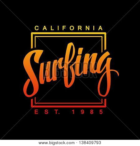 Surfing. Calligraphy. Surfing logo. Handwritten word. Surf typography, t-shirt graphics. Vector illustration.