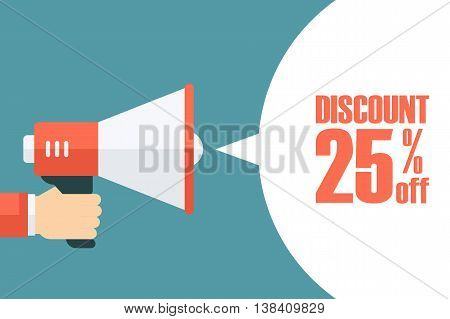 Male hand holding megaphone with discount speech bubble. Loudspeaker. Discount banner for business, promotion and advertising. Vector illustration.