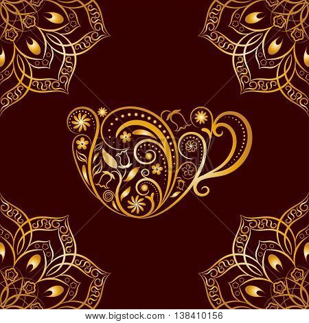 Vector Seamless Gold Floral Cup and Mandala Pattern. Seamless pattern for your design, invitation card, menu, cafe, bar and other drink wrapped projects. Fabric, Paper, Textile Wrapped Cup Pattern.