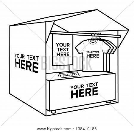 t-shirt selling tent market bold lines vector illustration