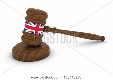 Uk Law Concept - British Flag Judge's Gavel 3D Illustration