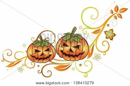 Halloween decoration with pumpkins, leaves and autumn flowers.