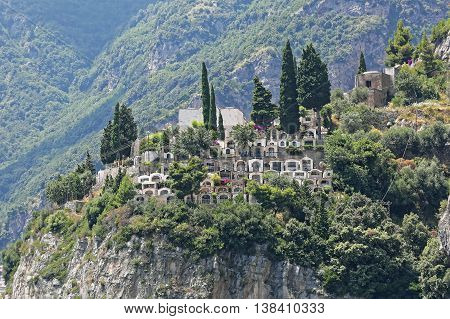 Cemetery at Cliff in Picturesque Village of Positano at Amalfi Coast Italy