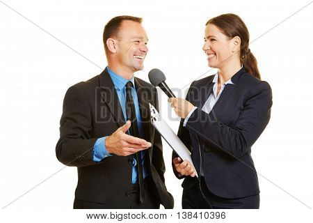 Smiling CEO of business company giving interview to media journalist