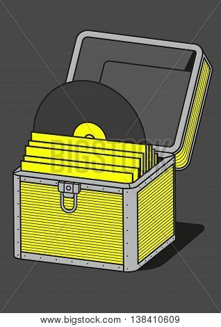Vinyl storage case, vector illustration, equipment for musician