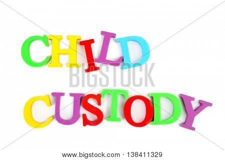 Child custody concept on white background