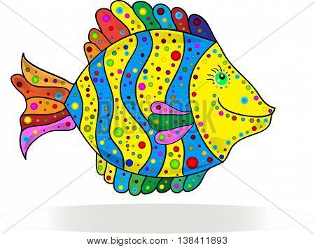 Cute colorful stripe fish cartoon. Vector illustration.