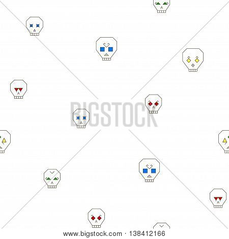 Seamless pattern with stylized skull on a white background. Skull with different characters and colored eyes. Vector illustration