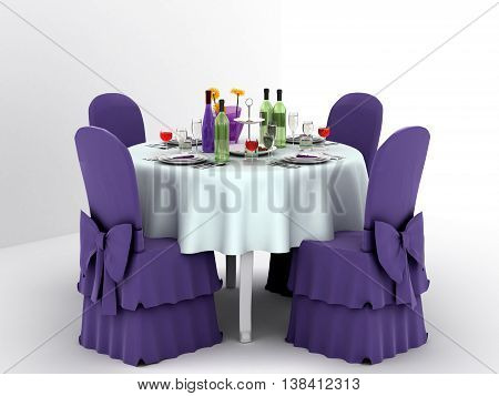 Serving a festive table for four persons. 3d illustration