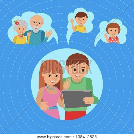 Family vector illustration parents with tablet phone.
