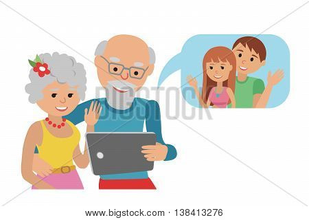 Family vector illustration grandparents with tablet phone.