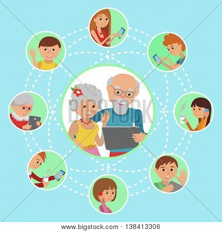 Man woman parents grandparents with tablet phone. Content and humans connected via chat share like e-mail.