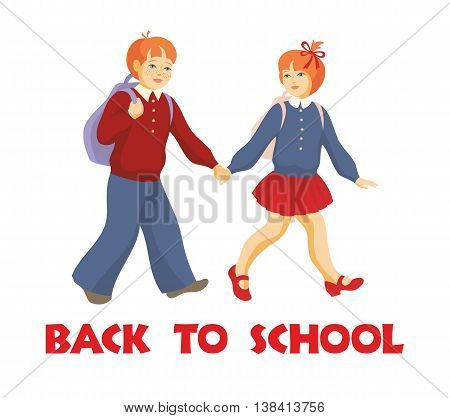 back to school.  the boy and the girl go to school