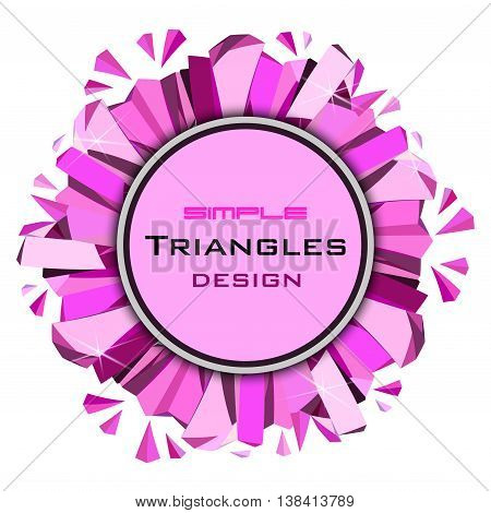 Ruby diamond circle frame with pink glamour sparkles on white background. Round label with text place. Vector illustration - stock vector.
