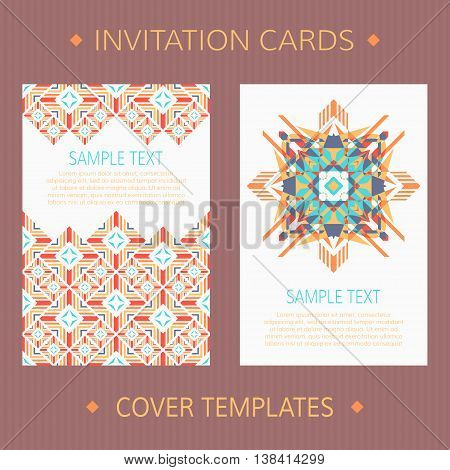 Set of two vector cards. Ethnic design vector template. Invitation template cards.