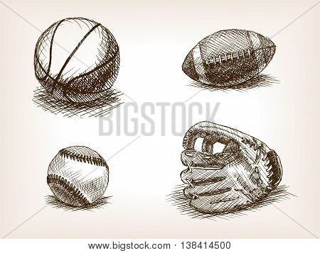 Balls and sport glove sketch style vector illustration. Old engraving imitation. Sport equipment vintage drawings