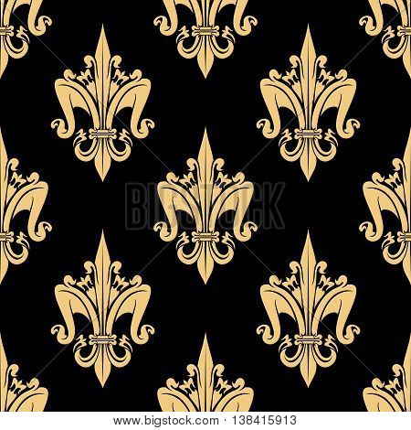 Flourish golden beige fleur-de-lis seamless pattern ornamental elements isolated on black. For royal heraldic themes or textile, interior or design.