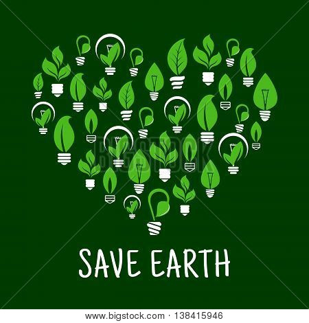 Lightbulbs like leafs in screw in shape of heart. Idea of saving nature and ecological environment, care about energy consumption.