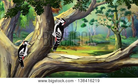 Several woodpeckers sitting on the branches of trees in the forest on a sunny summer day. Digital painting cartoon style full color illustration.