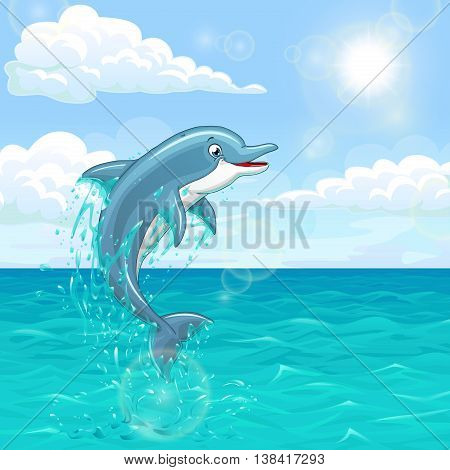 The dolphin who is jumping out of sea water of the ocean in splashes against the blue sky and the sun. Landscape of summer mood. Vector illustration.