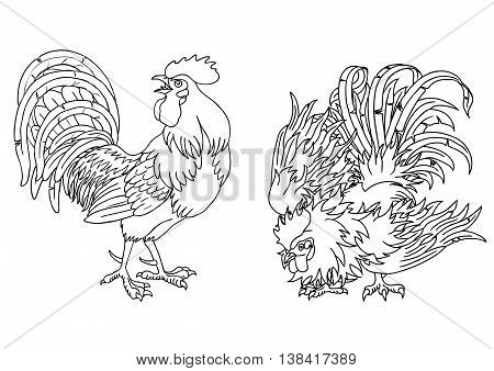 Fervent and fighting roosters black contour on white background. Fiery cock, chicken a symbol of the Chinese new year 2017.