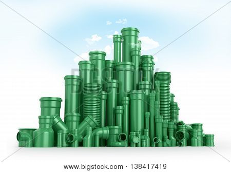 Green plastic tubes as mountains or trees the sky and clouds. 3D illustrations.