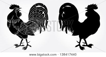 Fervent rooster black silhouette on white background. Fiery red rooster symbol of the Chinese new year 2017.