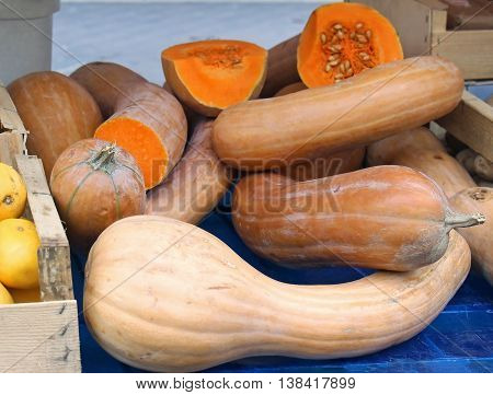 Butternut squash pile sold on market stall