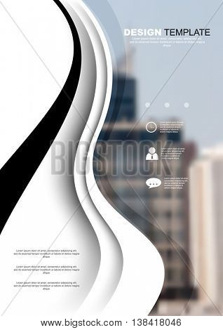 A4 size, waving lines elements annual report marketing business corporate design template. eps10 vector