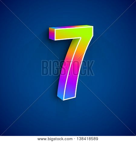 3d Number Seven. Colorful figure 7 on Blue Background