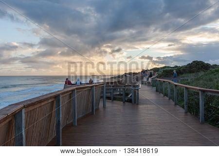 Warrnambool Australia - Jul 8 2016: Whale viewing platform at sunset Logans Beach Warrnambool Victoria Australia