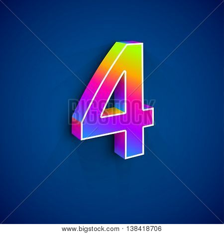 3d Number Four. Colorful figure 4 on Blue Background