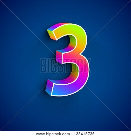 3d Number Three. Colorful figure 3 on Blue Background