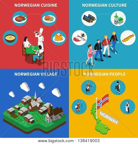 Norway touristic map with norwegean village culture and food 4 isometric icons poster abstract vector isolated illustration