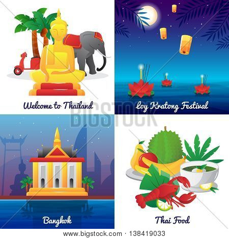 Thailand landmarks food and national symbols and festivals 4 flat icons square poster abstract isolated vector illustration