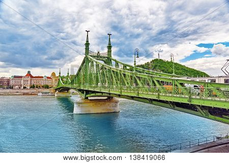 Budapest, Hungary-may 06, 2016: Liberty  Bridge In  Budapest,bridge Connecting Buda And Pest Across