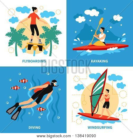 Water Sport Concept. Water Sport Vector Illustration.Water Sport  Flat Icons Set. Water Sport Design Set.Water Sport  Isolated Elements.
