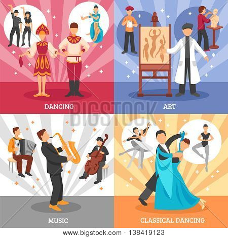 Artist people concept icons set with dancing and music symbols flat isolated vector illustration