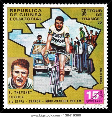EQUATORIAL GUINEA - CIRCA 1973 : Cancelled postage stamp printed by Equatorial Guinea, that shows cyclist Bernard Thevenet.