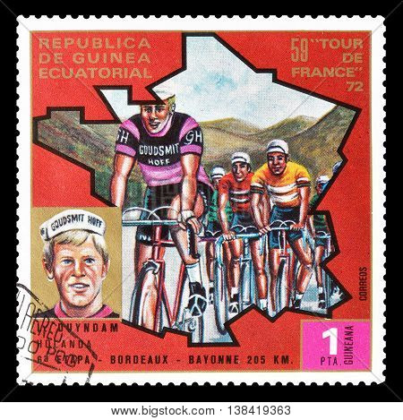 EQUATORIAL GUINEA - CIRCA 1973 : Cancelled postage stamp printed by Equatorial Guinea, that shows cyclist Leo Duyndam.