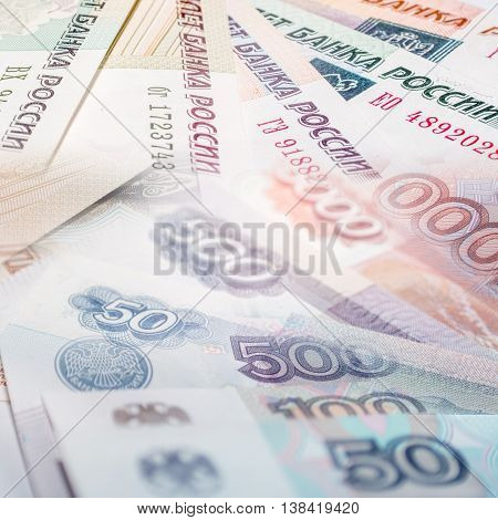 Russian rouble bills composition, close up symbols and details.