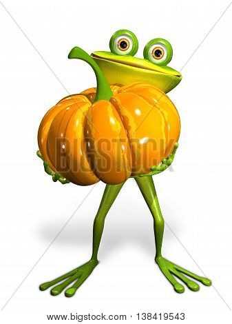 3d Illustration frog with a pumpkin on a white background