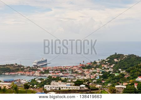 Saint George's Grenada - December 3 2011: Panorama view over Saint George's on December 3 2011 in Grenada Caribbean.