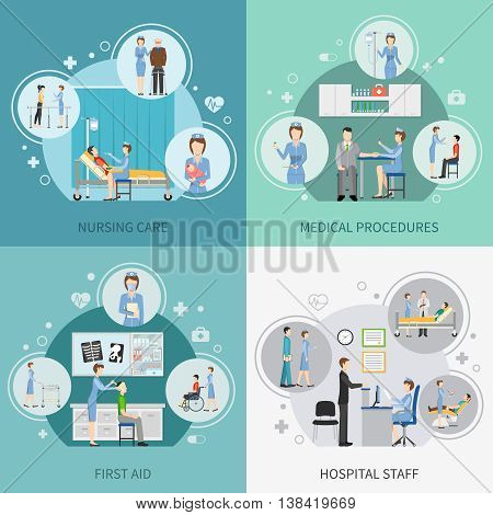 Nurse health care 2x2 design concept set of hospital staff providing first aid and performing medical procedures flat vector illustration