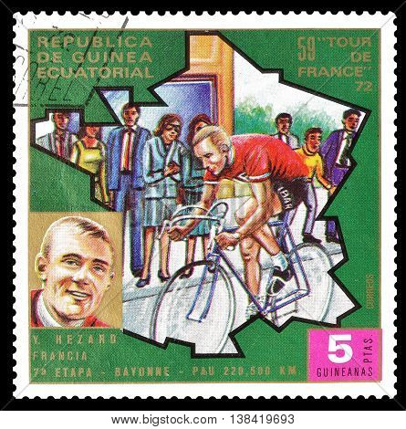 EQUATORIAL GUINEA - CIRCA 1973 : Cancelled postage stamp printed by Equatorial Guinea, that shows cyclist Yves Hezard.