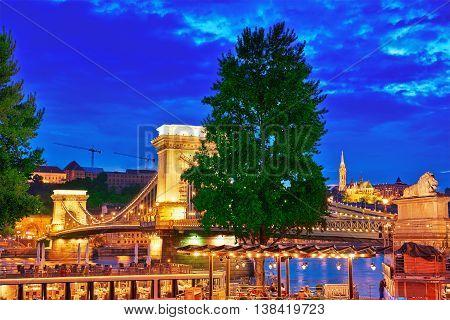 Budapest, Hungary-may 03,2016:szechenyi Chain Bridge View From Pest Side. Night Time. Budapest, Hung