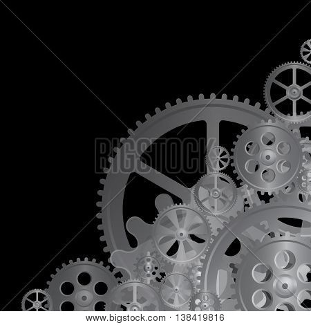 black gears on the black background vector illustration clip-art