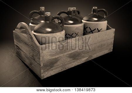 Moonshine In Wooden Crate