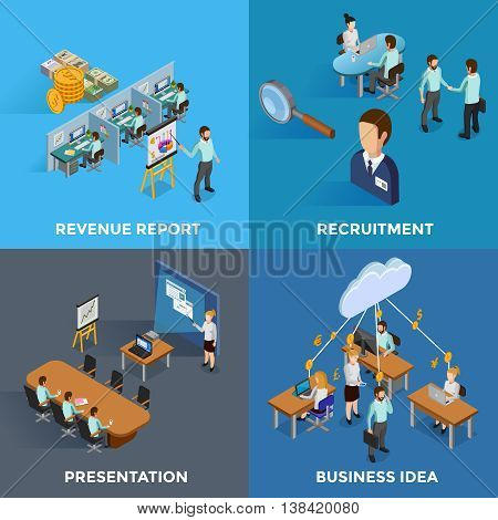 Isometric business 2x2 icons set with revenue report recruitment presentation and business idea isolated vector illustration